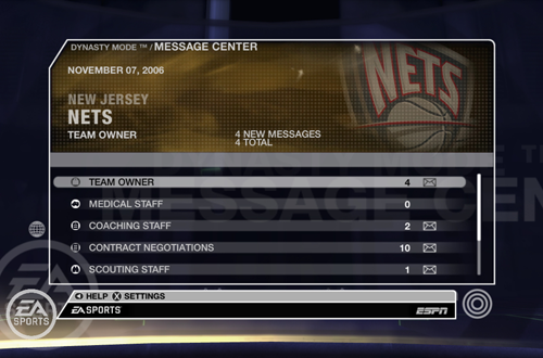 Dynasty Mode Menu in NBA Live 07 (Xbox 360)