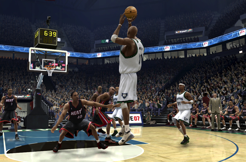 Kevin Garnett's jumpshot in NBA Live 07 (Xbox 360)