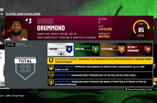 Andre Drummond Badges in NBA 2K21