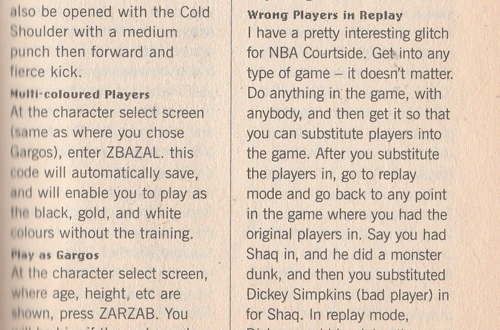 N64 Code Book Featuring Kobe Bryant in NBA Courtside Tricks