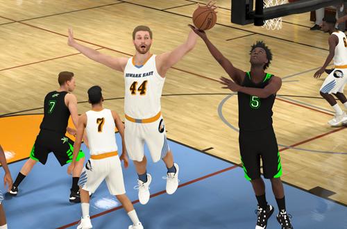 Blocking a shot in high school (NBA 2K21 MyCAREER)
