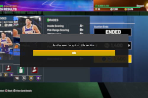 Sold Card in Auction House (NBA 2K21 MyTEAM)