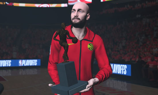 Kenny's centre holding the MVP trophy in NBA 2K19.