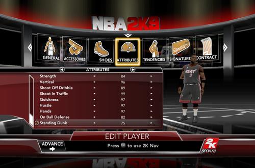 Dwyane Wade's Ratings in NBA 2K9