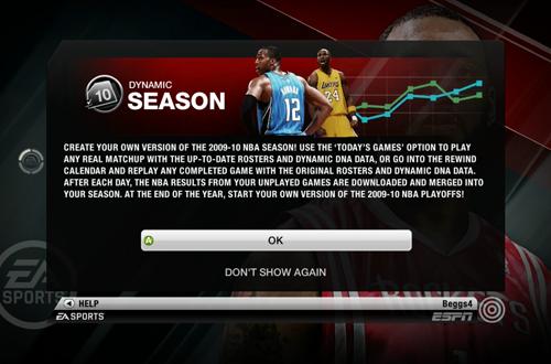 Dynamic Season in NBA Live 10
