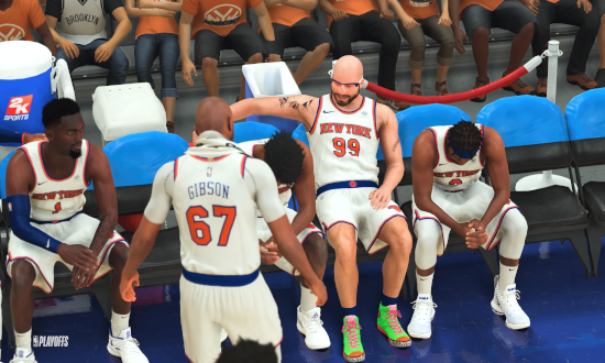 MyPLAYER having out on the Knicks bench in NBA 2K21.