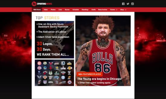 Kenny headlining the Sporting News website in NBA 2K17.