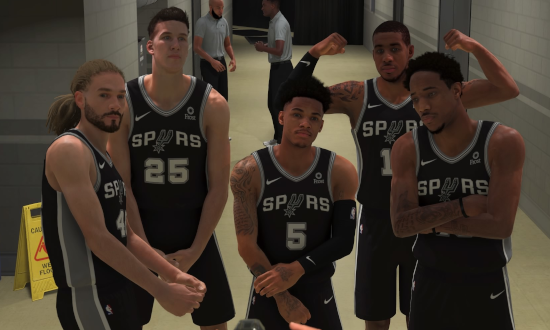 Kenny's shooting guard posing with the San Antonio Spurs in NBA 2K20.