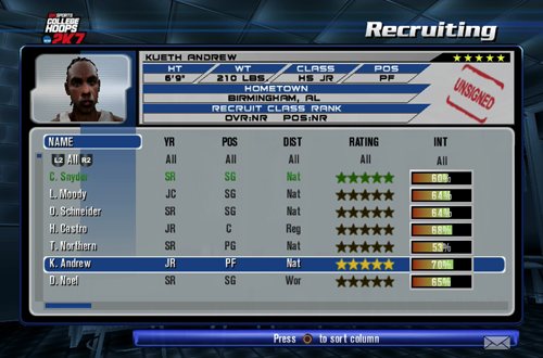Recruiting in College Hoops 2K7