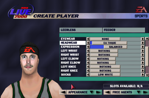 EA Toque on a Created Player (NBA Live 2000)
