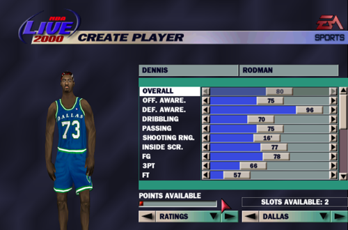 Ratings Limit in Create-a-Player (NBA Live 2000)