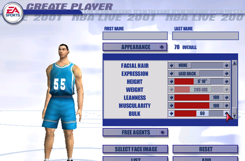 Weight & Body Sliders in Create-a-Player (NBA Live 2001)