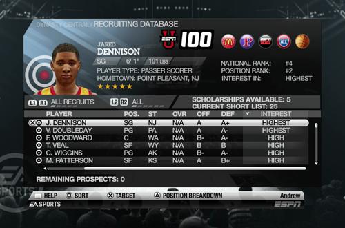 Recruiting in Dynasty (NCAA Basketball 10)