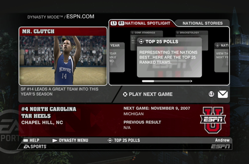 Dynasty Menu (NCAA March Madness 08)