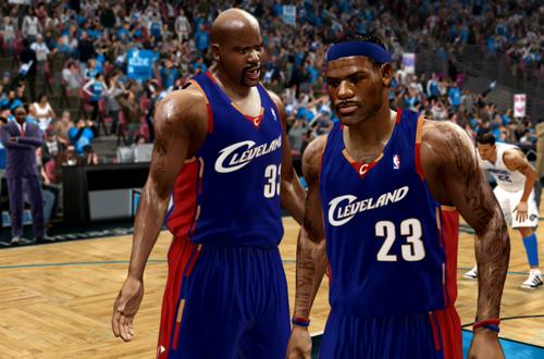 Shaq and LeBron in NBA Live 10