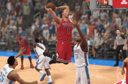 Derrick Rose dunks the basketball (NBA 2K14)
