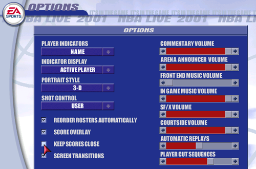 Keep Scores Close Option in NBA Live 2001 PC