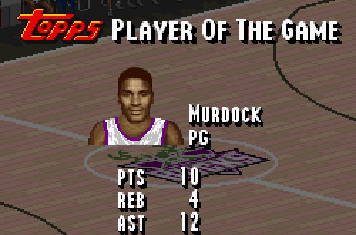 Topps Player of the Game in NBA Live 95 (SNES)