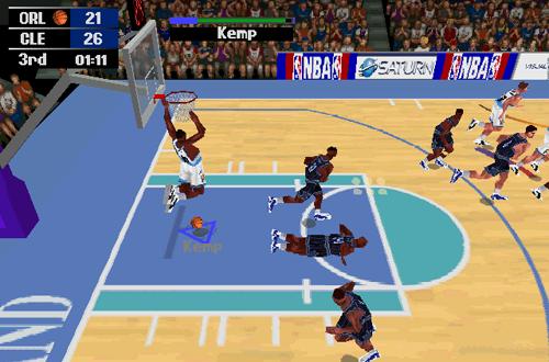 Shawn Kemp dunks in NBA Action 98