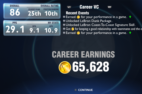 Career Earnings in NBA 2K14 MyCAREER