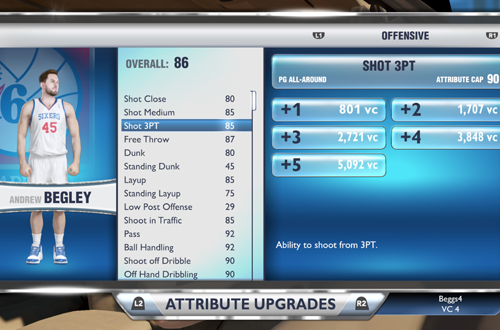 Attribute Upgrades in NBA 2K14 PS4
